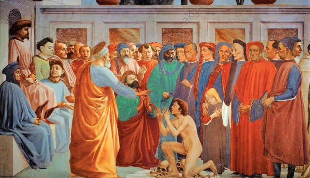 2-R42-M150-1425  Masaccio, Auferweckung des Sohnes Theoph  Masaccio, eigentl. Tommaso di Giovanni di Simone Guidi, 1401-1428, und Filip- pino Lippi, 1457-1504. 'Die Auferweckung des Sohnes des Theo- philus', um 1425/28 und 1481/85. Fresko, 230 x 598 cm. Florenz, S. Maria del Carmine, Cappella Brancacci, linke Wand, untere Zone, linke Bildhaelfte.  E: Raising Theophilus' Son /Masaccio/ C15th  Masaccio, (orig. Tommaso di Giovanni di Simone Guidi), 1401-1428, and Filippino Lippi, 1457-1504. - 'Raising of Theophilus' son'. - c.1425-28. Fresco, 230 x 598cm. Florence, S.Maria del Carmine, Cappella Brancacci.  F: Masaccio, Fils de Theophile ressuscite  Masaccio (Tommaso di Giovanni di Simone Guidi, dit) 1401-1428, et Filippino Lip- pi, 1457-1504. 'La Resurrection du fils de Theophile', vers 1425/28 et 1481/85. Fresque, H. 2,30, L. 5,98. Florence,  glise Santa Maria del Carmi- ne, Chapelle Brancacci, paroi de gauche, registre inferieur, panneau gauche.  ORIGINAL:  Saint Peter resurrects the son of Teophil, prefect of Antiochia, his jailer. Because of this miracle, Saint Peter is liberated (Legenda Aurea). The resurrected boy is a portrait of the young Gian Galeazzo Visconti. Painted with Filippino Lippi. 1425-1428. 232 x 597 cm Cappella Brancacci,Santa Maria del Carmine, Florence, Italy