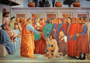 2-R42-M150-1425 Masaccio, Auferweckung des Sohnes Theoph Masaccio, eigentl. Tommaso di Giovanni di Simone Guidi, 1401-1428, und Filip- pino Lippi, 1457-1504. 'Die Auferweckung des Sohnes des Theo- philus', um 1425/28 und 1481/85. Fresko, 230 x 598 cm. Florenz, S. Maria del Carmine, Cappella Brancacci, linke Wand, untere Zone, linke Bildhaelfte. E: Raising Theophilus' Son /Masaccio/ C15th Masaccio, (orig. Tommaso di Giovanni di Simone Guidi), 1401-1428, and Filippino Lippi, 1457-1504. - 'Raising of Theophilus' son'. - c.1425-28. Fresco, 230 x 598cm. Florence, S.Maria del Carmine, Cappella Brancacci. F: Masaccio, Fils de Theophile ressuscite Masaccio (Tommaso di Giovanni di Simone Guidi, dit) 1401-1428, et Filippino Lip- pi, 1457-1504. 'La Resurrection du fils de Theophile', vers 1425/28 et 1481/85. Fresque, H. 2,30, L. 5,98. Florence, glise Santa Maria del Carmi- ne, Chapelle Brancacci, paroi de gauche, registre inferieur, panneau gauche. ORIGINAL: Saint Peter resurrects the son of Teophil, prefect of Antiochia, his jailer. Because of this miracle, Saint Peter is liberated (Legenda Aurea). The resurrected boy is a portrait of the young Gian Galeazzo Visconti. Painted with Filippino Lippi. 1425-1428. 232 x 597 cm Cappella Brancacci,Santa Maria del Carmine, Florence, Italy