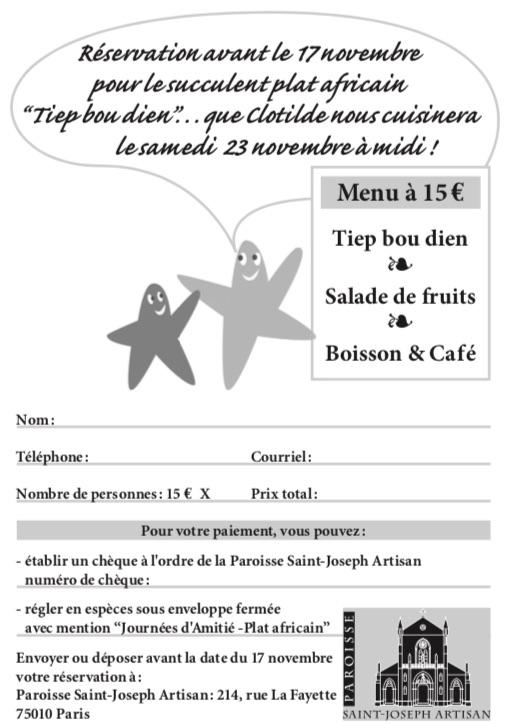Bulletin d'inscription au déjeuner du 23 novembre
